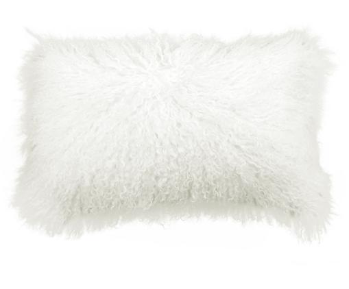 Langhaar-Lammfell Kissenhülle Ella, gelockt, Vorderseite: 100% mongolisches Lammfel, Rückseite: 100% Polyester, Naturweiß, 30 x 50 cm