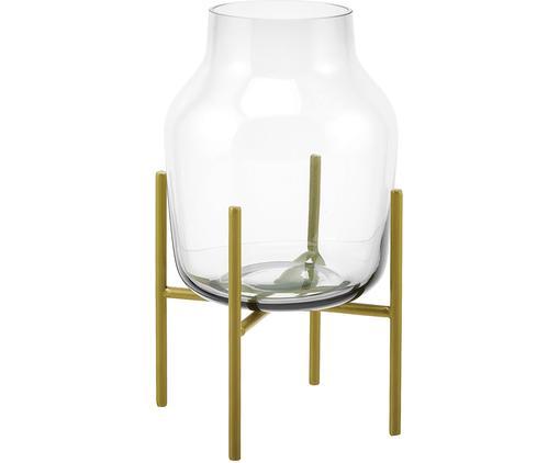 Vaas Lars, Vaas: glas, Frame: gepoedercoat metaal, Vaas: transparant. Frame: mat goudkleurig, Ø 17 x H 30 cm
