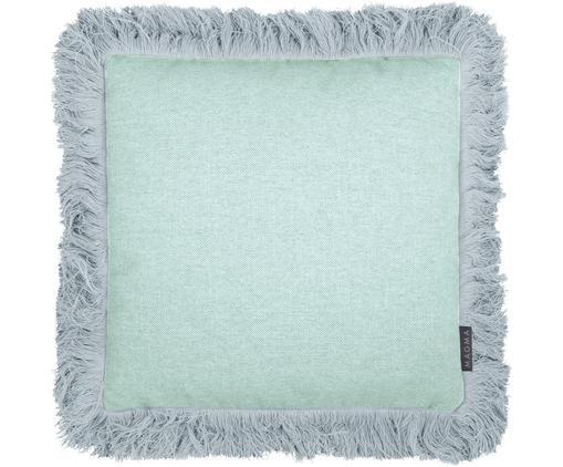 Poszewka na poduszkę z frędzlami Tine, Miętowo niebieski, S 40 x D 40 cm