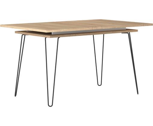 Ausziehbarer Esstisch Aero, Beine: Metall, lackiert, Eichenholz, B 134 bis 174 x T 90 cm