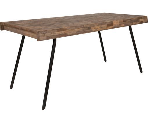 Esstisch Suri, Tischplatte: Recyceltes Teakholz, klar, Beine: Stahl, melaminbeschichtet, Tischplatte: Teakholz<br>Beine: Schwarz, B 160 x T 78 cm