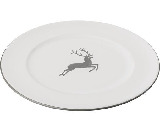 Speiseteller Gourmet Grauer Hirsch, Keramik, Grau,Weiß, Ø 29 cm