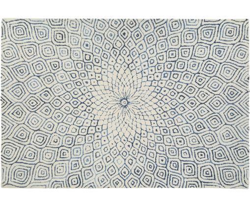 Alfombra artesanal con flecos Fleur, Parte superior: 60%lana, 40%algodón, Reverso: 100%algodón, Azul vaquero, An 200 x L 300 cm (Tamaño L)
