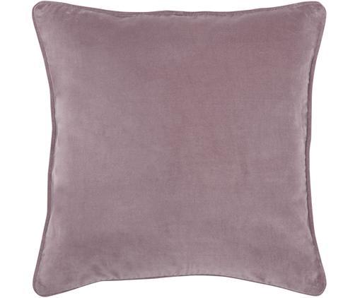Federa arredo in velluto rosa cipria Dana, 100% velluto di cotone, Rosa cipria, Larg. 50 x Lung. 50 cm