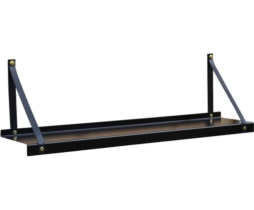 Metall-Wandregal Shelfie mit Lederriemen, Regalbrett: Metall, pulverbeschichtet, Riemen: Leder, Schwarz, 75 x 23 cm