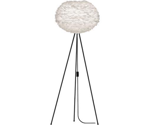 Lampada da terra in piume Eos, Paralume: piuma d'oca, acciaio, Base della lampada: alluminio, verniciato a p, Bianco, nero, Ø 66 x A 149 cm