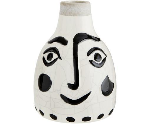 Vaso Face, Terracotta, Bianco, nero, Ø 14 x Alt. 21 cm