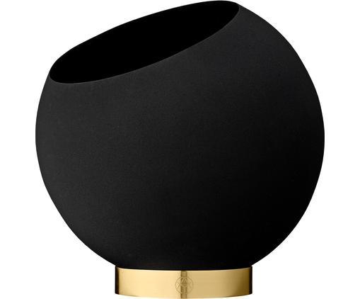 Übertopf Globe, Übertopf: Metall, pulverbeschichtet, Fuß: Edelstahl, beschichtet un, Schwarz, Ø 21 x H 19 cm
