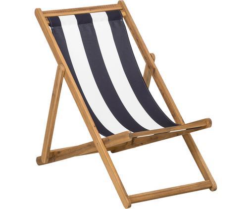 Składany leżak Zoe, Stelaż: drewno akacjowe, olejowan, Biały, niebieski, S 59 x G 91 cm
