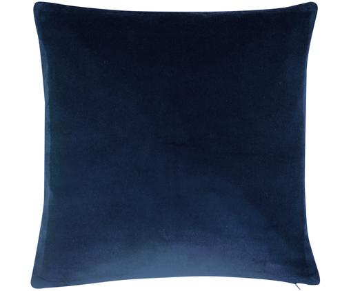Funda de cojín de terciopelo Alyson, Terciopelo de algodón, Azul marino, An 50 x L 50 cm