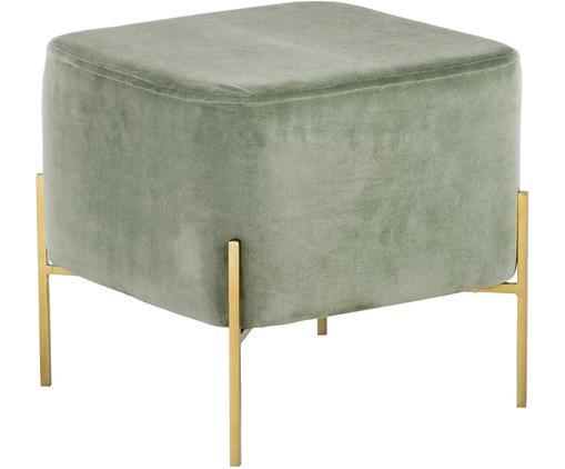 Pouf velours Harper, Vert sauge, couleur dorée