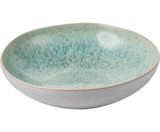 Handbemalte Schale Areia, Steingut, Mint, Gebrochenes Weiß, Beige, Ø 22 x H 5 cm
