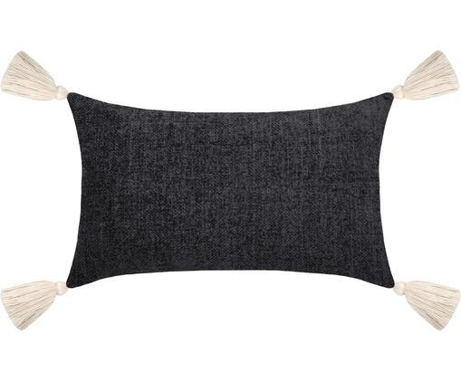 Coussin rectangulaire bleu Chila, Noir