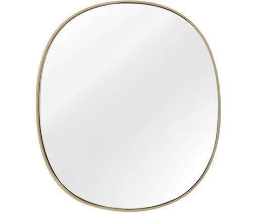 Ovaler Wandspiegel Adria mit Goldrahmen, Rahmen: Metall, vermessingt, Spiegelfläche: Spiegelglas, Rückseite: Mitteldichte Holzfaserpla, Messing, 49 x 55 cm