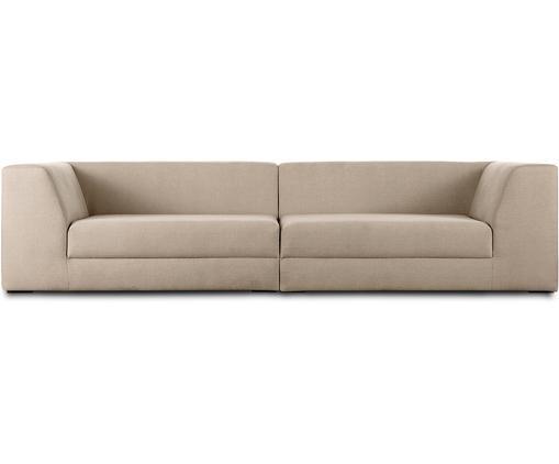 Modulares Sofa Grant (3-Sitzer), Bezug: Baumwolle 20.000 Scheuert, Gestell: Fichtenholz, Füße: Massives Buchenholz, lack, Webstoff Taupe, B 266 x T 106 cm