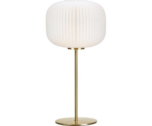 Lampe à poser Sober, Blanc, couleur laitonnée
