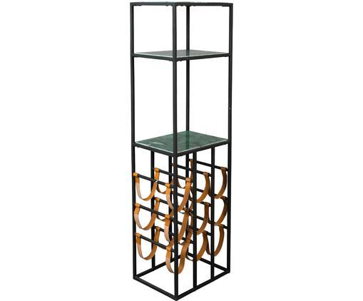 Portabottiglie per 9 bottiglie in marmo Mil, Struttura: metallo verniciato a polv, Scaffali: marmo, Nero, verde, Larg. 36 x Alt. 126 cm