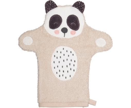 Gant de toilette en coton bio Panda Penny, Beige, blanc, gris foncé