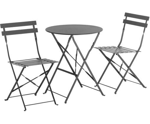 Gartensitzgruppe Chelsea aus Metall, 3-tlg., Metall, pulverbeschichtet, Dunkelgrau, Sondergrößen