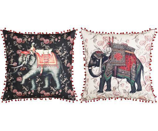 Kissen 2er Set Conecuh mit Elefantenmotiven, mit Inlett, Bezug: Polyester, Weiß, Schwarz, Rot. Grün, 45 x 45 cm