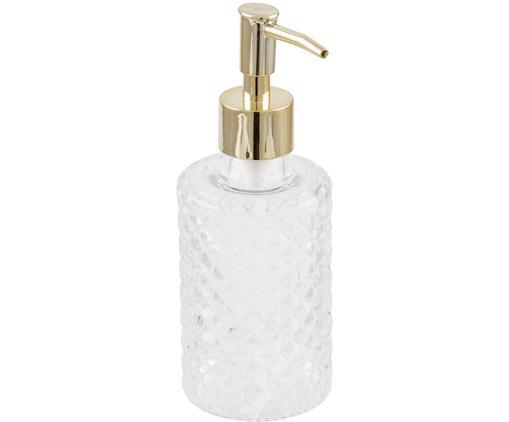 Glas-Seifenspender Diamante, Behälter: Glas, Behälter: Transparent Pumpmechanismus: Goldfarben, Ø 7 x H 19 cm