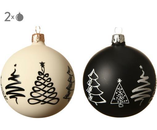 Weihnachtskugel-Set Cartoony, 2-tlg., Glas, Weiß, Schwarz, Ø 8 cm