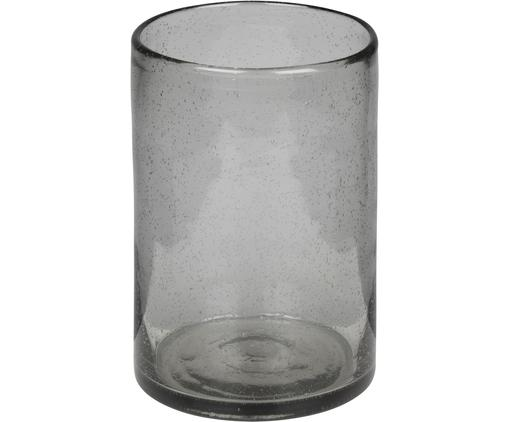 Handgefertigte Glas-Vase Spring, Glas, Grau, transparent, Ø 13 x H 18 cm