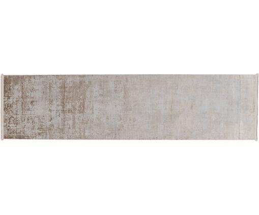 Schimmernder Läufer Cordoba mit Fransen, Vintage Style, Flor: 70% Acryl, 30% Viskose, Beigetöne, 80 x 300 cm