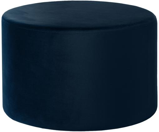 Puf z aksamitu Daisy, Tapicerka: aksamit (poliester), Tapicerka: pianka, 28 kg/m³, Granatowy, Ø 62 x W 41 cm