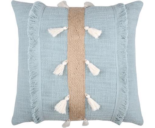 Coussin en coton avec décor en jute Eivissa Stripe, Bleu ciel, beige