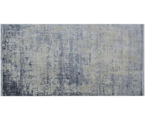 Vintage Teppich Cordoba mit Fransen, schimmernd, Flor: 70% Acryl, 30% Viskose, Blau, Grau, B 80 x L 150 cm (Größe XS)