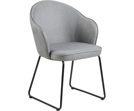 Krzesło z podłokietnikami Mitzie, Tapicerka: poliester 25 000 cykli w , Nogi: metal lakierowany, Jasny szary, czarny, S 57 x G 59 cm