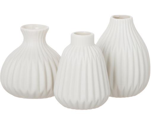 Set de jarrones de porcelana Esko, 3pzas., Porcelana, Blanco, Tamaños diferentes