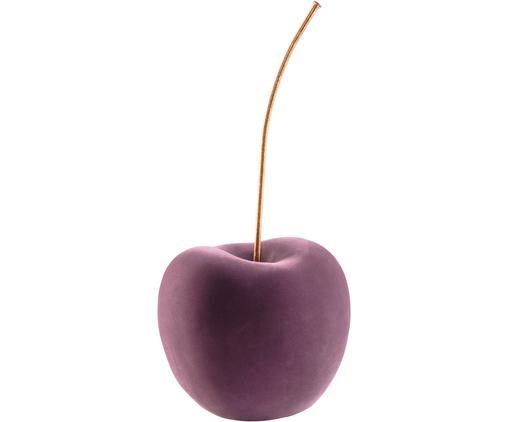 XL-Deko-Objekt Cherry, Bezug: Polyestersamt, Griff: Metall, lackiert, Lila, Messingfarben, 20 x 40 cm