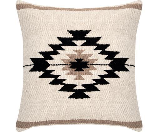 Housse de coussin tissée style ethnique Toluca, Noir, beige, taupe