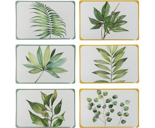 Set 6 tovagliette americane Botanique, Materiale sintetico, Bianco, verde, giallo, Larg. 45 x Prof. 30 cm