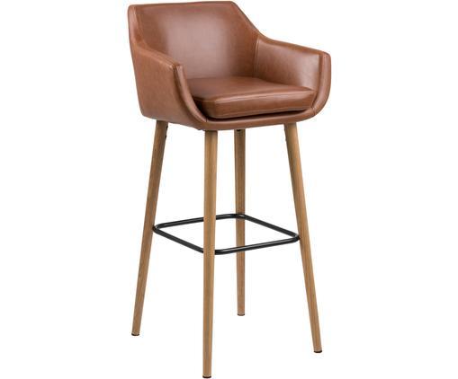 Barstuhl Nora, Bezug: Kunstleder (Polyurethan), Beine: Eichenholz, ölbehandelt, Bezug: Cognac<br>Beine: Eiche<br>Fußstütze: Schwarz, 55 x 101 cm