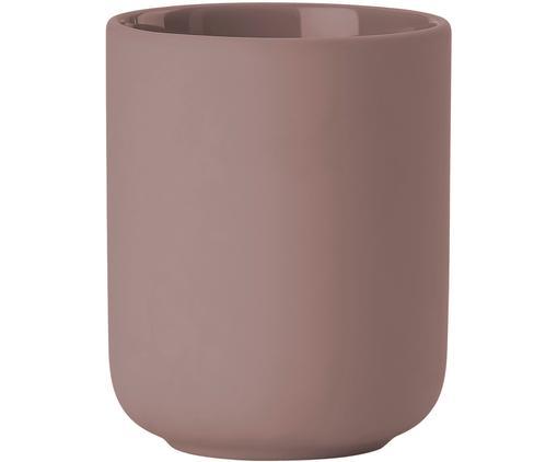 Kubek na szczoteczki z kamionki Omega, Ceramika pokryta miękką w dotyku powłoką (tworzywo sztuczne), Brudny różowy, matowy, Ø 8 x W 10 cm