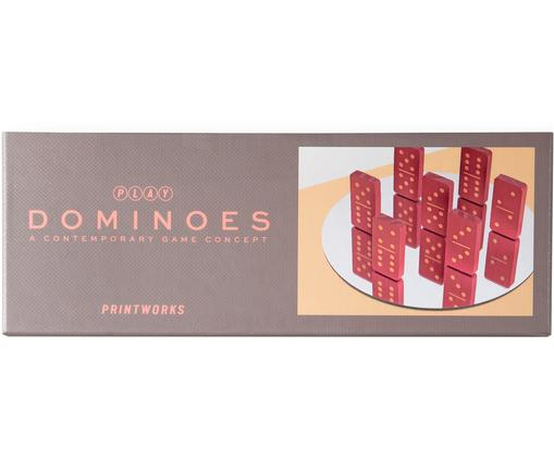 Juego dominó Play, 30pzas., Papel, madera, Greige, rojo, Ancho 24 x Alto 4 cm