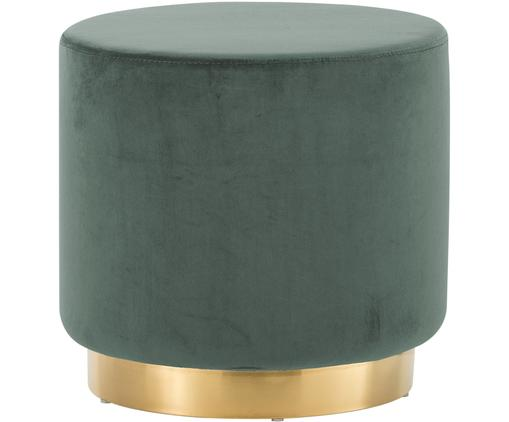 Tabouret en velours Orchid, Revêtement: vert clair Socle: couleur dorée