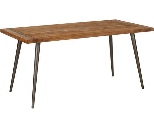 Tavolo con piano in legno massello Kapal, Piano d'appoggio: teak massiccio riciclato , Gambe: acciaio con tracce metall, Legno di teak, Larg. 160 x Prof. 80 cm