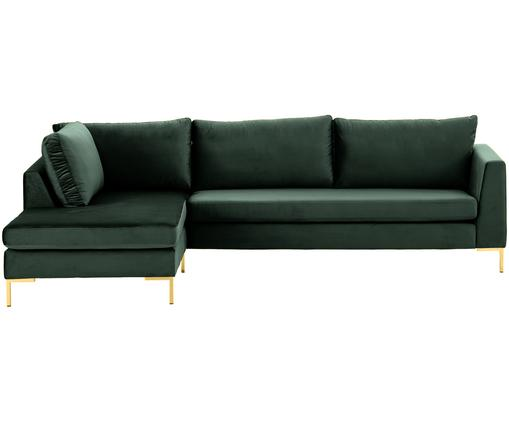 Samt-Ecksofa Luna, Bezug: Samt (Polyester) 80.000 S, Gestell: Massives Buchenholz, Samt Dunkelgrün, Gold, B 280 x T 184 cm