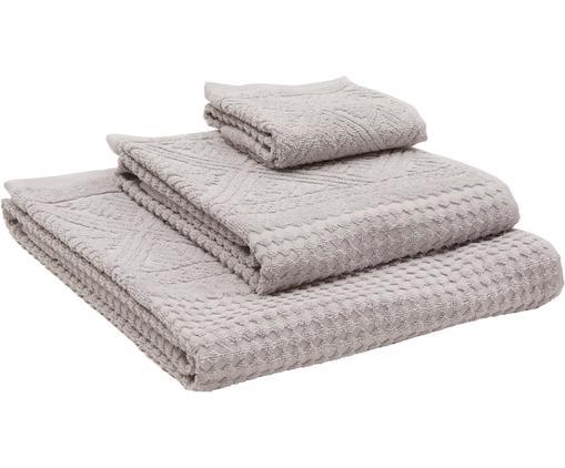 Set 3 asciugamani Retro 3 pz, Grigio chiaro, Diverse dimensioni