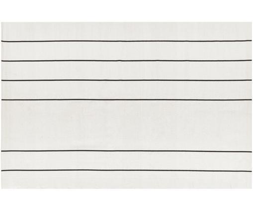 Ręcznie wykonany dywan z bawełny David, Bawełna, Kremowobiały, czarny, S 120 x D 180 cm (Rozmiar S)
