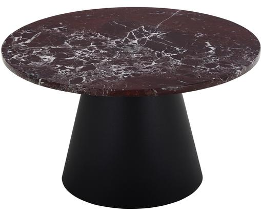 Stolik kawowy z marmuru Liam, Blat: marmur, Stelaż: metal powlekany, Jasny czerwony marmur, czarny, Ø 70 x W 40 cm