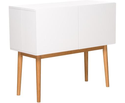 Credenza bianca lucida High on Wood, Piedini: legno di quercia massicci, Bianco, legno naturale, Larg. 90 x Alt. 80 cm