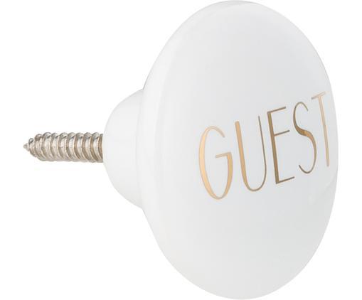 Wandhaken Guest aus Keramik mit Goldschrift, Keramik, Weiß, Goldfarben, Ø 4 cm