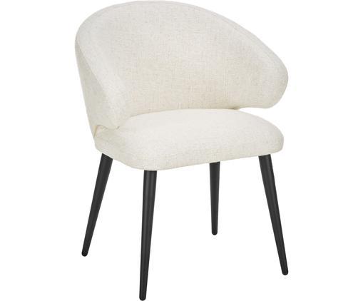 Chaise à accoudoirs design moderne en tissu bouclé Celia, Blanc crème