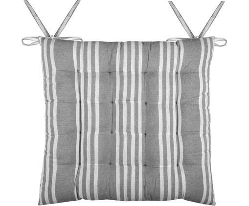 Gestreifte Sitzauflage Mandelieu in Grau, Baumwollgemisch, Dunkelgrau, Weiß, 40 x 40 cm