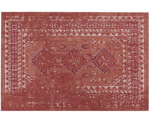 Alfombra artesanal de chenilla Rebel, estilo vintage, Parte superior: 95%algodón, 5%poliéster, Reverso: 100%algodón, Rojo cobrizo, crema, rojo, An 120 x L 180 cm (Tamaño S)